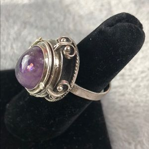 Tamped Silver & Purple Poison Ring